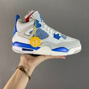 Air Jordan 4 Retro Military Blue White and blue relaxed, refreshing and vibrant